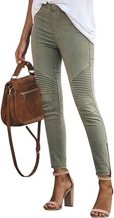 women pants Women/'s l//XL Khaki Jean stretch  Moto Pant stretch
