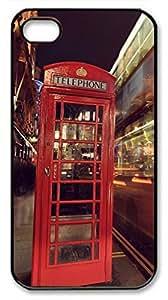iCustomonline London Case for iPhone 4 4S Protective Back Black Hard Sides