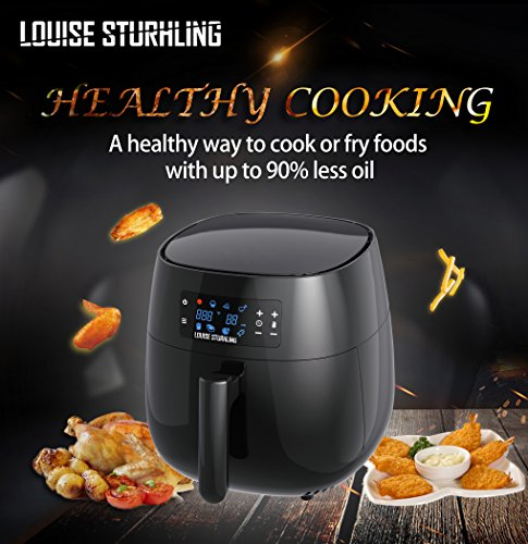 LOUISE STURHLING All-Natural Healthy Ceramic Coated 4.0L Air Fryer. BPA-FREE, PTFE & PFOA-FREE, 7-in-1 Pre-programmed One-touch Settings, Exclusive BONUS Items - FREE COOKBOOK, TONGS & PIZZA PAN by Louise Sturhling (Image #4)