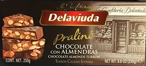 Turron Delaviuda Praline Chocolate Con Almendras (Chocolate Almonds Turron) - 8.8 Oz (250g) - Product Of Spain by Delaviuda