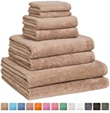 Fast Drying Extra Large Bath Towel Set, Decorative & Luxury Premium Turkish Cotton Towels for Clearance - Spa & Hotel Quality - Pack of 8 including 2 Oversized Bath Sheets (30x60) - Beige
