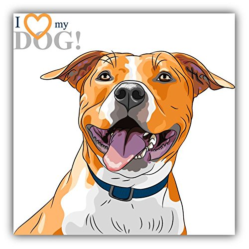 I Love My Dog American Staffordshire Terrier Pegatina de Vinilo Para la Decoracion del Vehiculo 12 X 12 cm Mozaika
