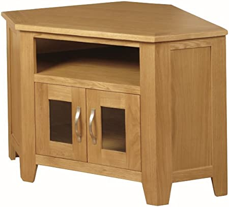The One Edmonton Roble Mueble de Esquina para televisor con 2 Puertas de Cristal – Madera de Roble de Esquina para televisor de Plasma – Acabado: Oak- Sala de Estar Muebles: Amazon.es: Hogar