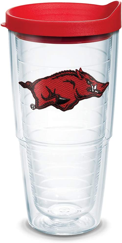 Tervis 1058351 Arkansas Razorbacks Tumbler with Emblem and Red Lid 24oz, Clear