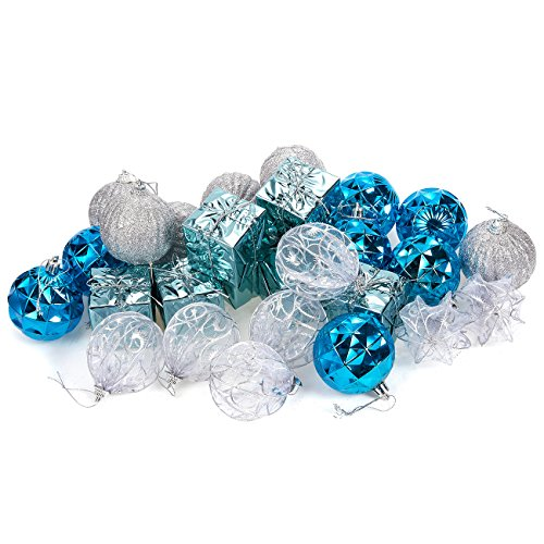 (Juvale 28-Pack Christmas Tree Decorations - Glittery Xmas Ball Ornaments in 4 Assorted Ball, and Gift Box Designs - Perfect Festive DecorEmbellishments, Blue and Silver)