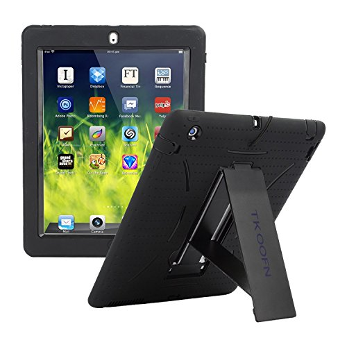TKOOFN Heavy Duty Silicon Defender Protective Military Shockproof Bumper iPad Case Cover with Built in Stand for iPad 2/iPad 3/iPad 4 + Screen Protector + Stylus + Cleaning Cloth, Black/Black