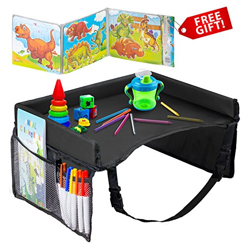 - Kids Travel Tray – Waterproof, Portable Toddler Snack and Play Station with Mesh Storage Pockets – Activity Lap Desk for Car Seat, Stroller, Plane by EverythingINplace (Black)