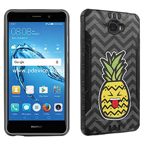TalkingCase Phone Case for Huawei Ascend XT2,H1711,Elate 4G,Black Premium Hybrid Duo-Layer Case,Armor Exterior,Soft Gel Interior Cover,Pineapple Head Beh Tongue Print, Design and Print in USA ()