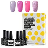 """Beauty : Lagunamoon Gel Nail Polish Set,""""Pink Romance"""" Series 4 Colors Nail Art with No Wipe Top Coat and Base Coat,Soak Off UV LED Nail Gel Kit 8ml"""