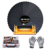 Sandpaper and Hand Sander Kit, LATTCURE 108PCS 60 to 3000 Grit Sand Paper Assortment Wet Dry Sanding Sheets/Abrasive Paper for Wood Furniture, drywall sanding, Automotive Metal Finishing and Polishing
