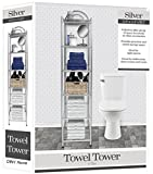 DINY Home & Style Deluxe Spa Tower 6 Tier Towel & Bathroom Accessory Rack Silver Metal