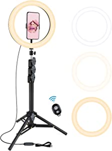 """10.2"""" Selfie Ring Light with Tripod Stand&Cell Phone Holder for Live Stream/Makeup, iXunGo Dimmable Led Camera Beauty Ringlight for YouTube TikTok/Photography with 3 Light Modes & 10 Brightness Levels"""