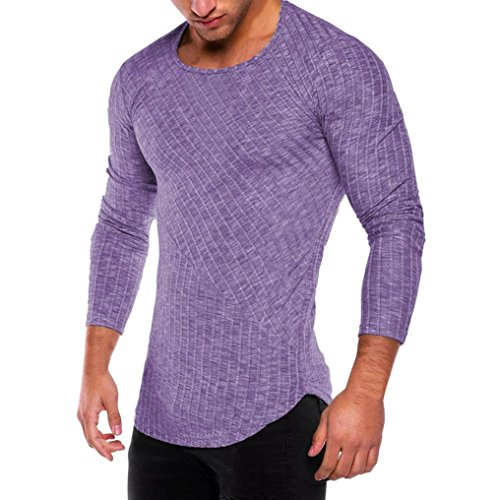 iLXHD Men's Slim Fit O Neck Long Sleeve Muscle Tee T-Shirt Casual Tops (Non Iron Spread Collar Oxfords)