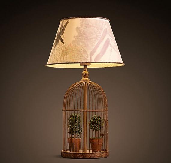 PPSAERTE®E27 Lámpara de mesa de jaula de pájaros Estilo retro ...