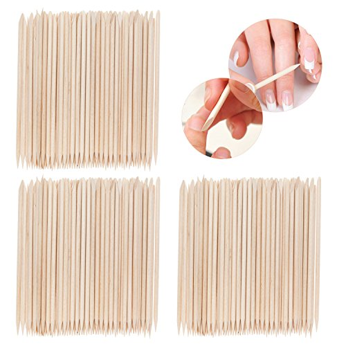Best Price Set With 300pcs High Quality Nail Art Orange Wooden Sticks / Cuticle Pushers / Removers / Manicure Tools By VAGA
