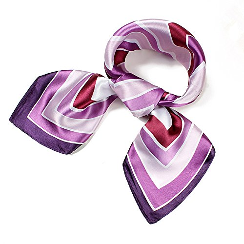 Womens Lavender Purple Satin Silk Feeling Formal Square Scarf Neckerchief Head ()