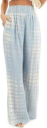 SENSERISE Womens Tie Dye Wide Leg Palazzo Lounge Pants Casual Loose Flower Print Pants
