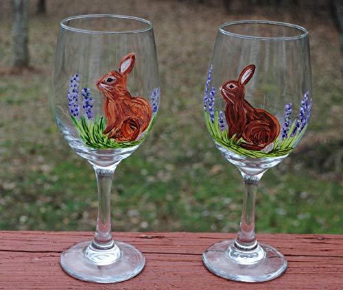 Bunny Rabbit Hand Painted 20 oz Stemmed Wine Glasses (Set of 2) Easter Kitchen Decor. ()