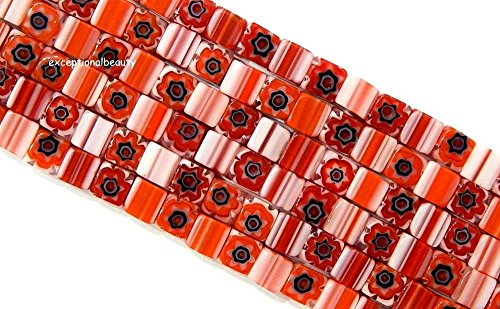 Millefiori Chevron Glass 4mm Red Orange White Blue Flowers Cube Square Beads (Millefiori Mosaic Art Glass)