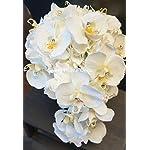 Sweet-Home-Deco-Gel-Coated-Real-Touch-Phanaenopsis-Orchid-Hydrangea-Diamond-Wedding-Bouquet-Package-Bridal-Bouquet-Bridesmaid-Bouquet-Boutonniere-WhiteBlack-Cascading-Bridal-Bouquet