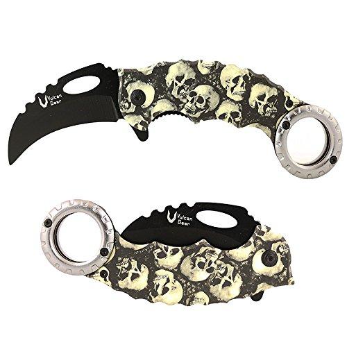 Vulcan Gear Tactical Karambit Hawkbill Knife (Folding Assist Open Skull)