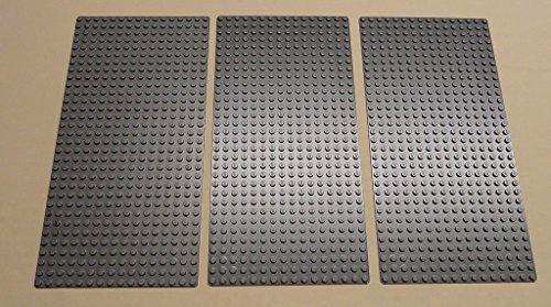 Lego Gray Baseplates Brick Building 16x32 Dots, Set of 3, Bluish Gray