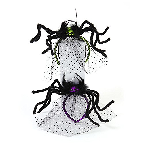 Halloween Costume Spider Headband with Tulle Veil - 2 Pack - Purple and Green
