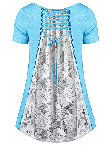 longues Blouse Casual Shirt dentelle lache grande Uniquestyle Tops T Femme Manches taille Bleu YnwHUE