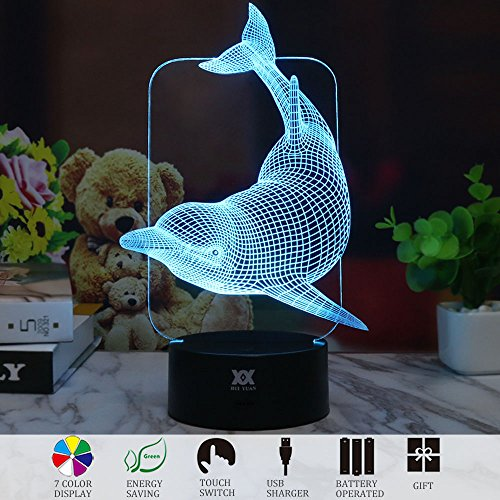 - 3D Illusion Animal Dolphin LED Desk Table Night Light Lamp 7 Color Touch Lamp Kiddie Kids Children Family Holiday Gift Home Office Childrenroom Theme Decoration by HUI YUAN