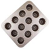 MyLifeUNIT Carbon Steel Cannele Pan, 12-Cavity Non Stick Cannele Mold, Golden