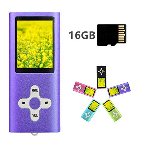MP3 Player MP4 Player with a 16GB Micro SD Card, Runying Portable Music Player Support up to 64GB, Mini USB Port 1.8 LCD, with Photo Viewer, E-Book Reader, Voice Recorder & FM Radio Video (Purple)