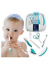 My Happy Tot Baby Grooming Kit - Deluxe Essential Set for Infants, Newborns, Kids, Boys and Girls. Unisex Kit Includes Nail Clipper, Brush, File, Scissors, Comb, Toothbrush & Finger Toothbrush BOBEBE Online Baby Store From New York to Miami and Los Angeles