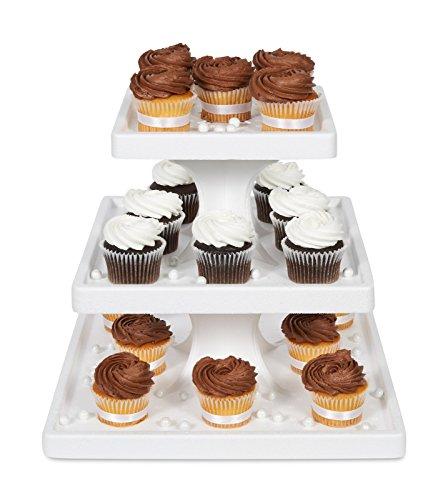 Bakery Crafts 3-Tier Square Styrofoam Cake/Cupcake Stand