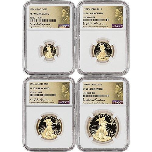 1994 W American Gold Eagle 4-pc Proof Set Saint Gaudens Label PF70