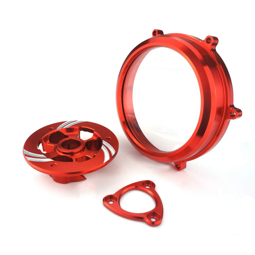 Heinmo Motorcycle Billet Clutch Cover Pressure Plate Oil Bath Clutch Spring Retainer for Ducati (3 Pieces) (Red)