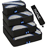 Bagail Travel Luggage Packing Organizers with Laundry Bag, Black (Set of 4 Packing Cubes)