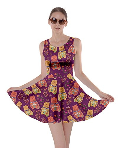 Cowcow Femmes Chats Chaton Miaule Patte Animaux De Compagnie De Kitty Griffe Robe Patineuse, Xs-5xl Chat Rouge Aztec