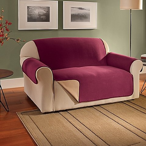 Innovative Textile Solutions Fleece Waterproof Reversible Loveseat Protector in Burgundy - Over Dual Reclining Loveseat