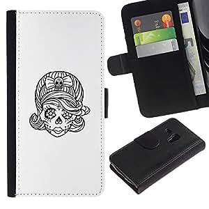 A-type (Tatuaje del cráneo de la novia del bosquejo del motorista Tinta) Colorida Impresión Funda Cuero Monedero Caja Bolsa Cubierta Caja Piel Card Slots Para Samsung Galaxy S3 MINI 8190 (NOT S3)