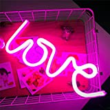 Led LOVE Neon Sign, Neon Light Sign LOVE Wedding Decor Party Suppliers Night Light USB and Battery Operated Lighting Valentines Day Gift Kids Bedroom (Pink)