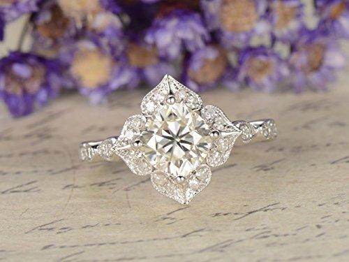 (Moissanite Engagement Ring Solid 14k White Gold 6mm Cushion Cut Antique Wedding Ring Vintage Flower Halo Diamond Anniversary Gift Floral Retro Bridal Ring Set Art Deco Charles Colvard )