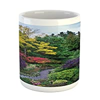 Lunarable Garden Mug, World Famous Park Architecture Butchart Gardens Flowers with Walking Path Image, Printed Ceramic Coffee Mug Water Tea Drinks Cup, Multicolor