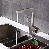 FZHLR Chrome/Brushed Nickel Pull Out Kitchen Faucet Square Brass Kitchen Mixer Sink Faucet Mixer Kitchen Faucets Pull Out Kitchen Tap,Brushed Nickel