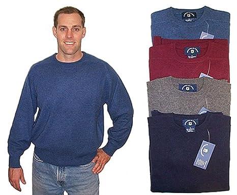 Mens Basic Crew Long Sleeve 100/% Cashmere Sweater