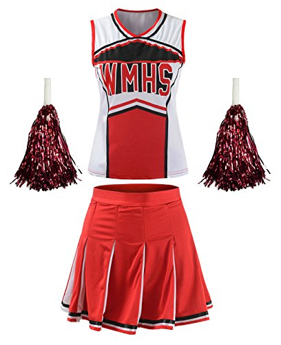 Cheerleaders Uniform Skirts - OurLore Women's High School Musical Cheerio Classic Cheerleader Athletic Sport Uniform Fancy Dress (Red, US 14-16)