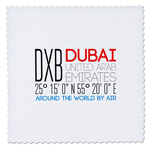 3dRose Alexis Design - Around The World by Air - Decorative Text DXB, Dubai, United Arab Emirates, Location - 12x12 inch Quilt Square (qs_303793_4)