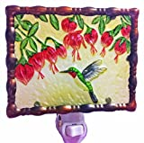 Continental Art Center NL9802 Hand Painted Glass with Night Light Hummingbird and Fuchsia Flower, 5.2 by 5.6 by 1.6-Inch