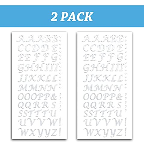 Peel and Stick Glitter Alphabet Letter Stickers for Grad Cap - Assorted Colors (White) (Rhinestone Peel And Stick)