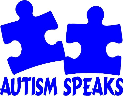 Autism Speaks with Puzzle Piece in Color Vivid Blue -