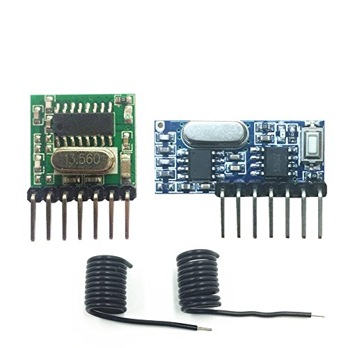 QIACHIP Wireless 433Mhz RF Module Receiver and Transmitter Remote Control Built-in Learning Code 1527 Decoding 4 Channel Output (Transmitter and Receiver kit) (Mhz Rf 433 Transmitter)
